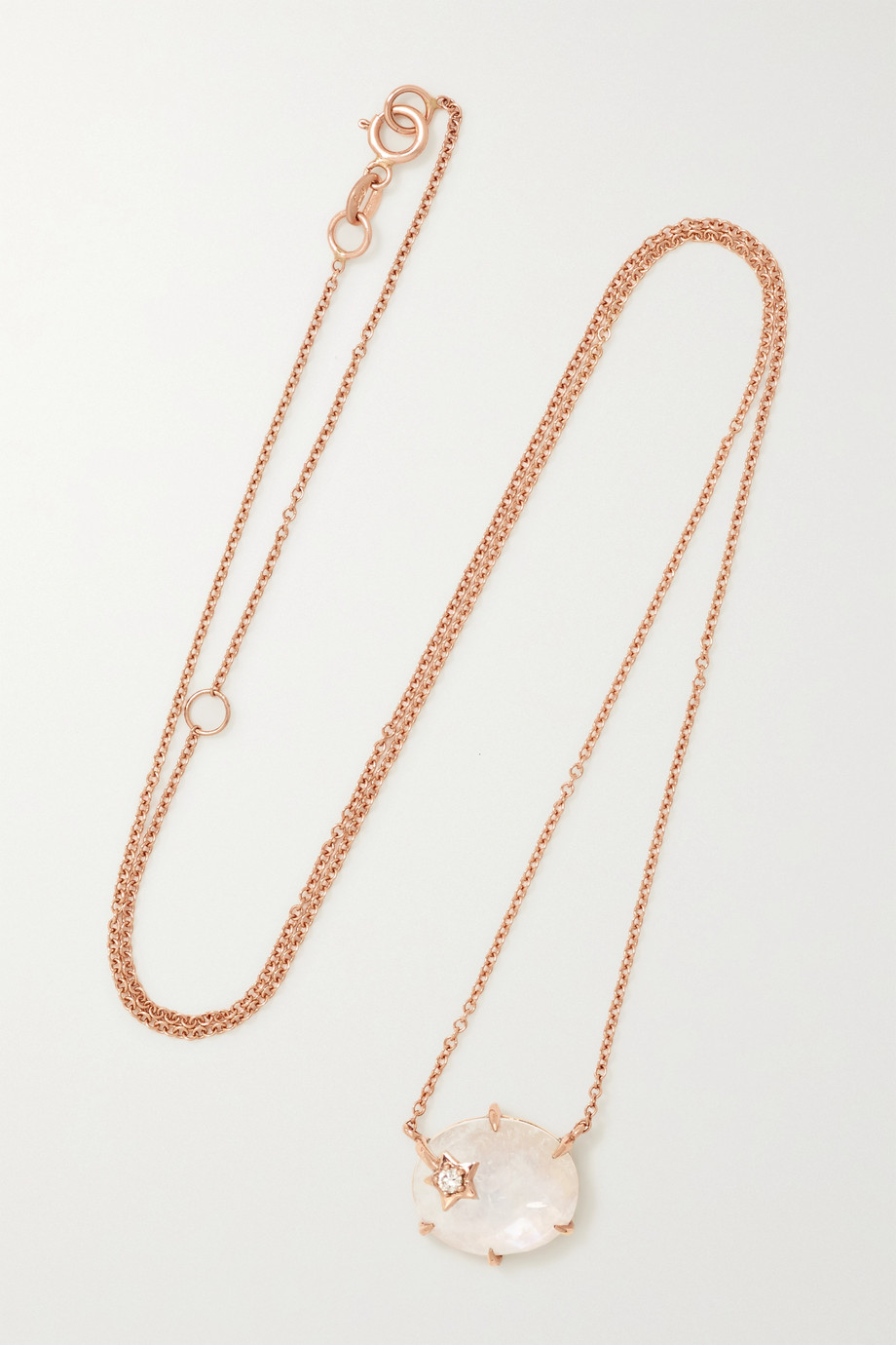 ANDREA FOHRMAN Mini Galaxy 14-karat rose gold, moonstone and diamond necklace
