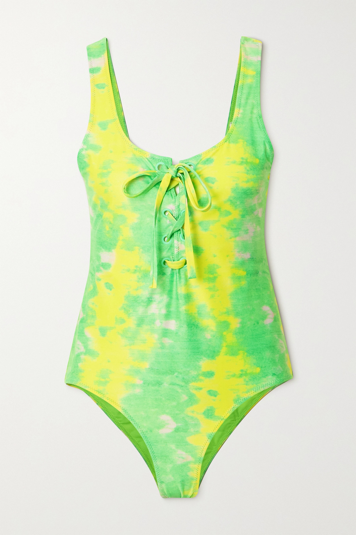 Ganni + Net Sustain Kelly Lace-up Printed Recycled Swimsuit In Green