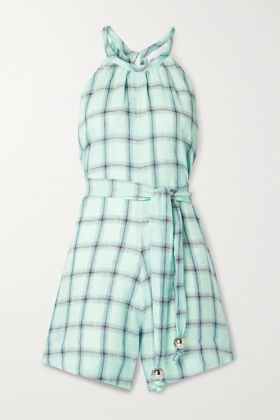 LISA MARIE FERNANDEZ + NET SUSTAIN belted checked linen playsuit