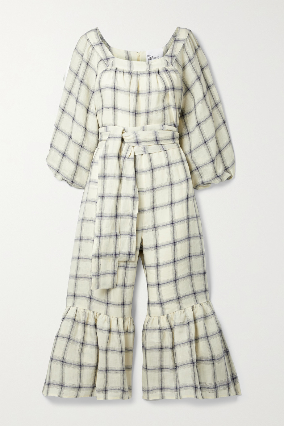 LISA MARIE FERNANDEZ + NET SUSTAIN Laure belted checked linen jumpsuit