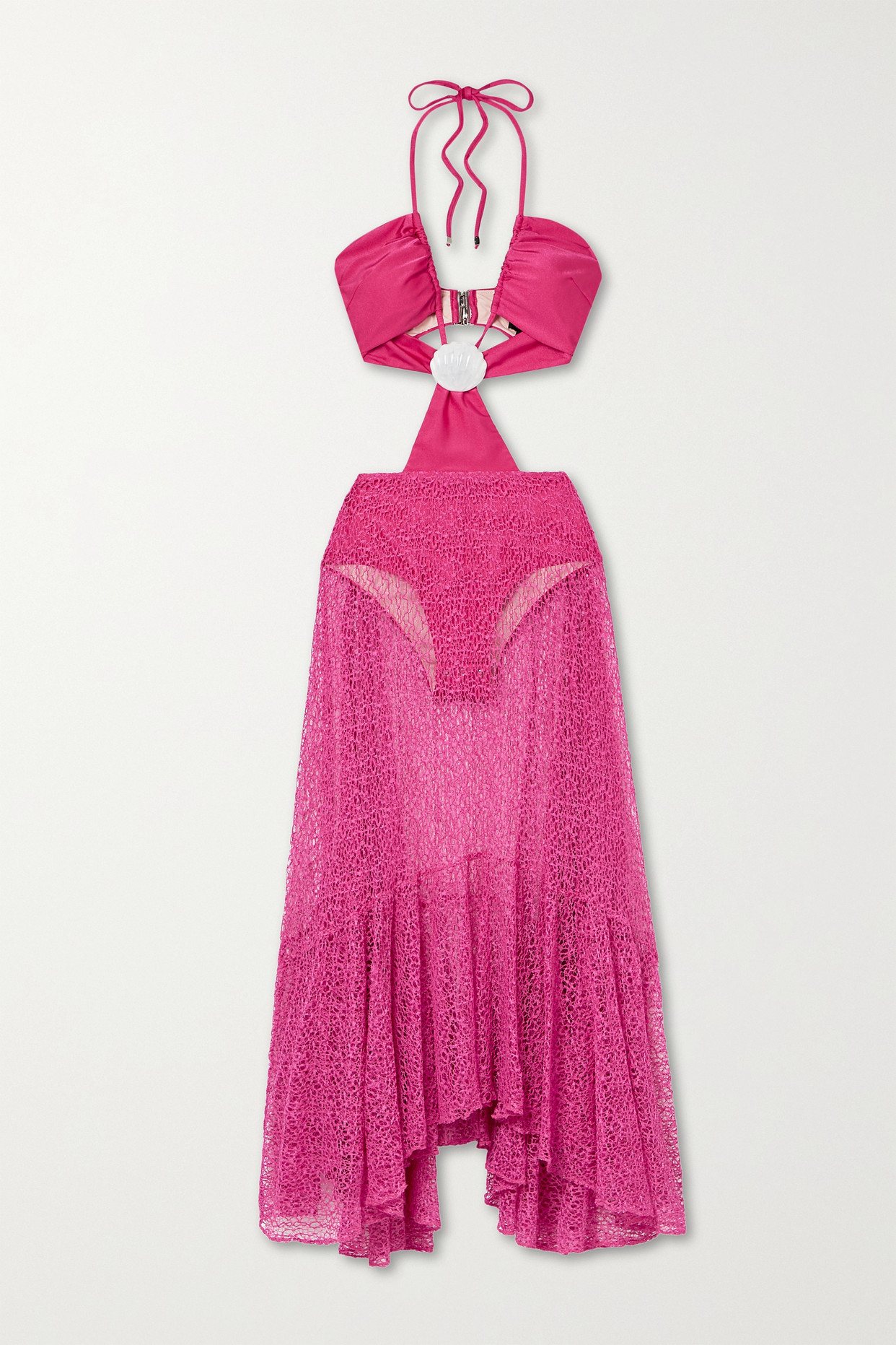 Patbo Cutout Embellished Swimsuit And Crocheted Maxi Skirt In Pink