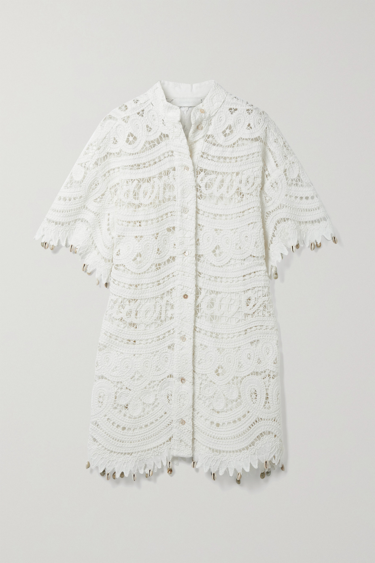Zimmermann Shelly Embellished Crocheted Linen And Cotton-blend Mini Dress In Ivory