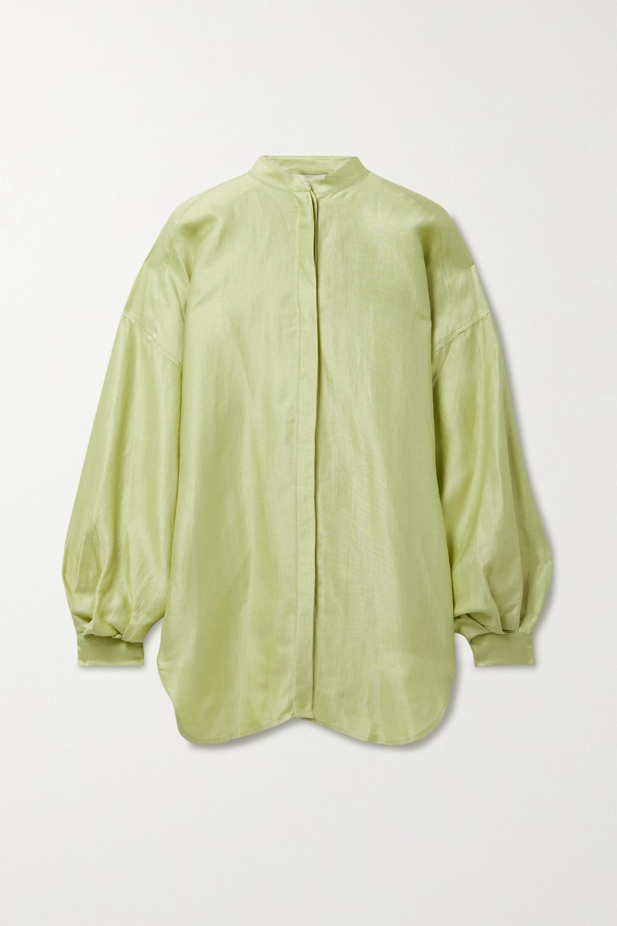 BONDI BORN - Bretagne Satin-twill Mini Shirt Dress - Green - large