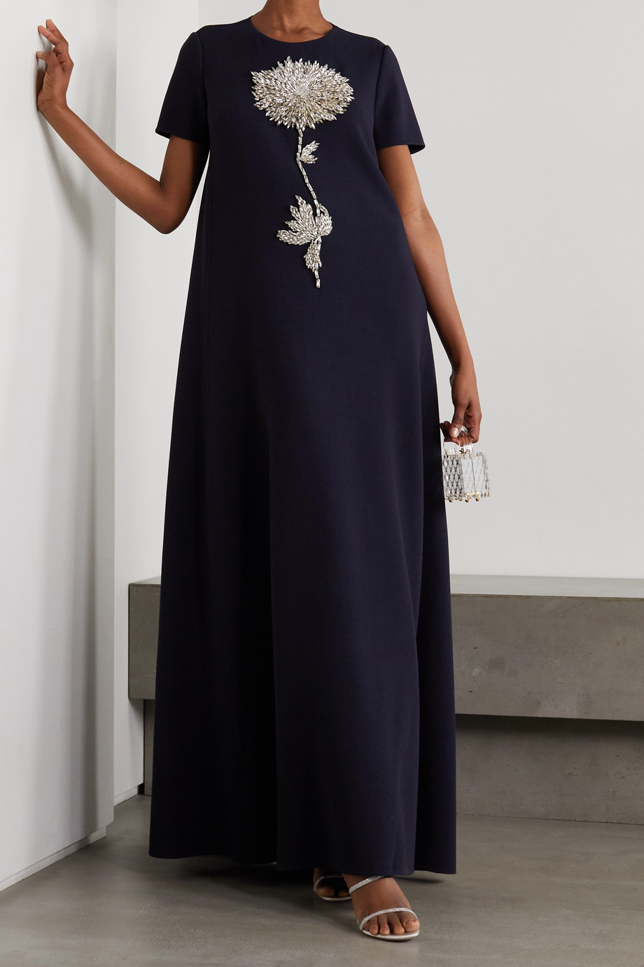 OSCAR DE LA RENTA Crystal-embellished wool-blend gown