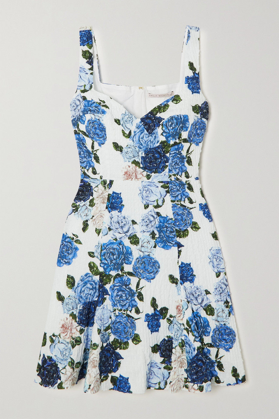 EMILIA WICKSTEAD Easter floral-print Swiss-dot cotton-blend seersucker mini dress