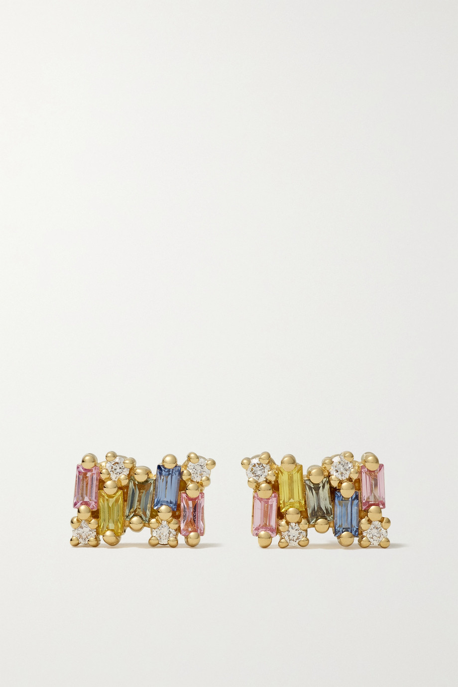 SUZANNE KALAN 18-karat gold sapphire, and diamond earrings