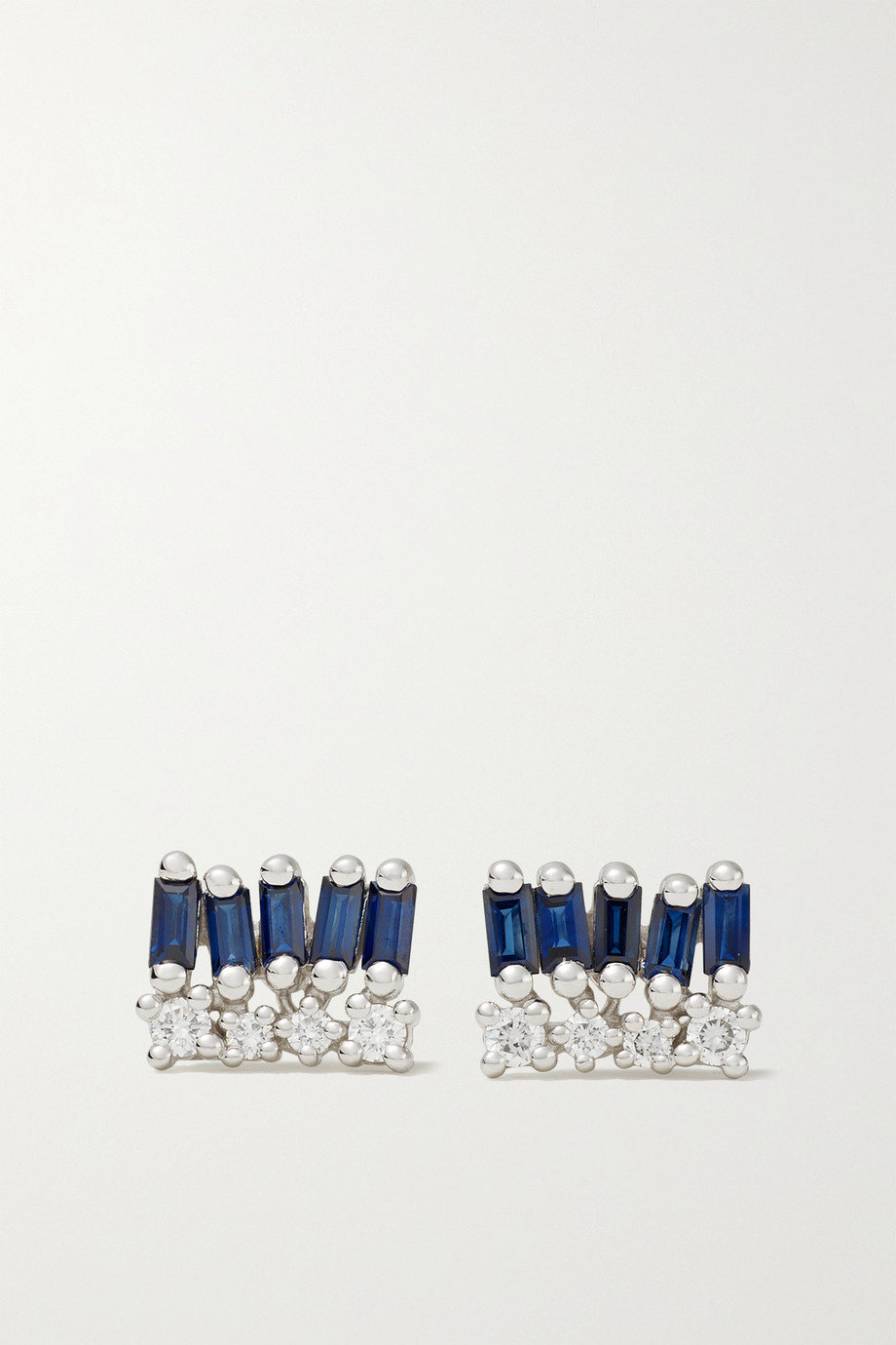 SUZANNE KALAN 18-karat white gold, sapphire and diamond earrings