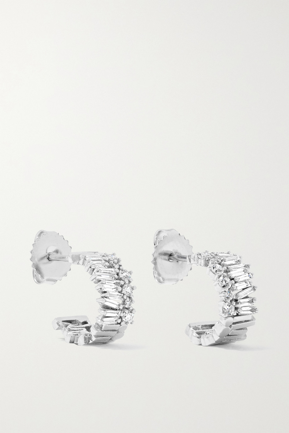 SUZANNE KALAN 18-karat white gold diamond hoop earrings