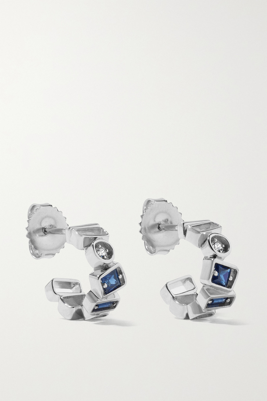 SUZANNE KALAN 18-karat white gold, sapphire and diamond hoop earrings