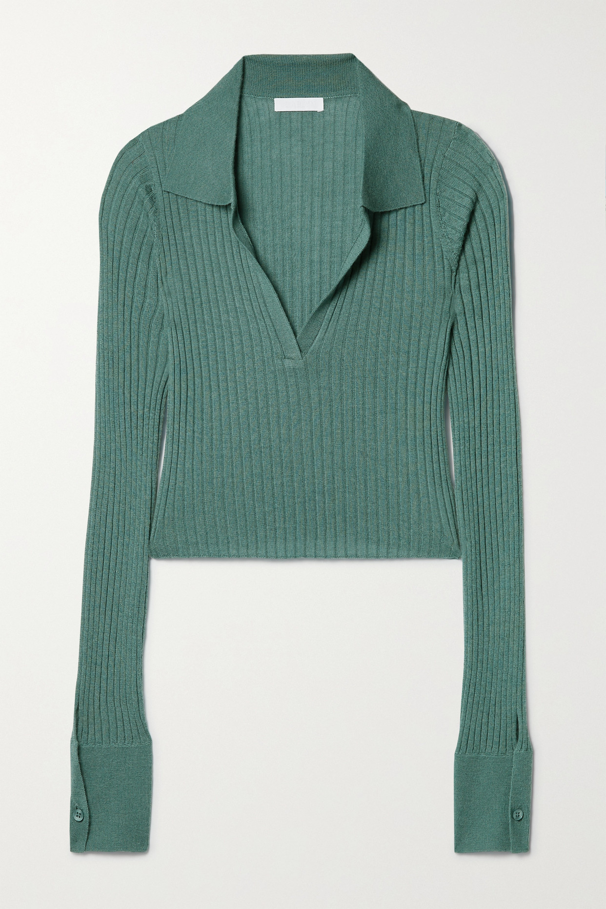 Sablyn Irene Cropped Ribbed Cashmere Top In Green