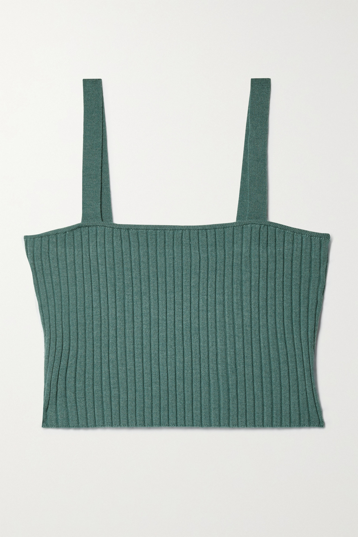 Sablyn Katalina Cropped Ribbed Cashmere Top In Green