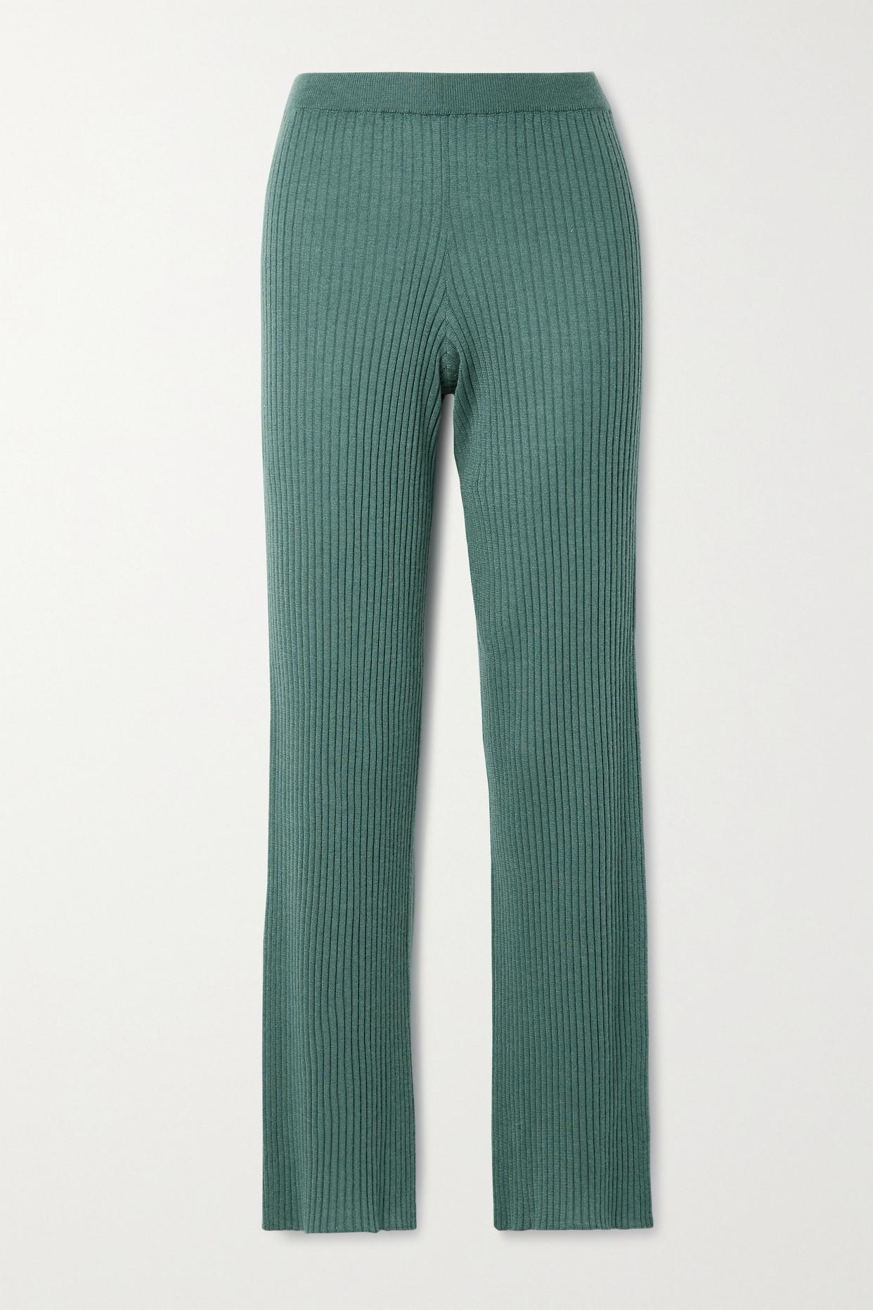 Sablyn Jordan Ribbed Cashmere Straight-leg Pants In Green