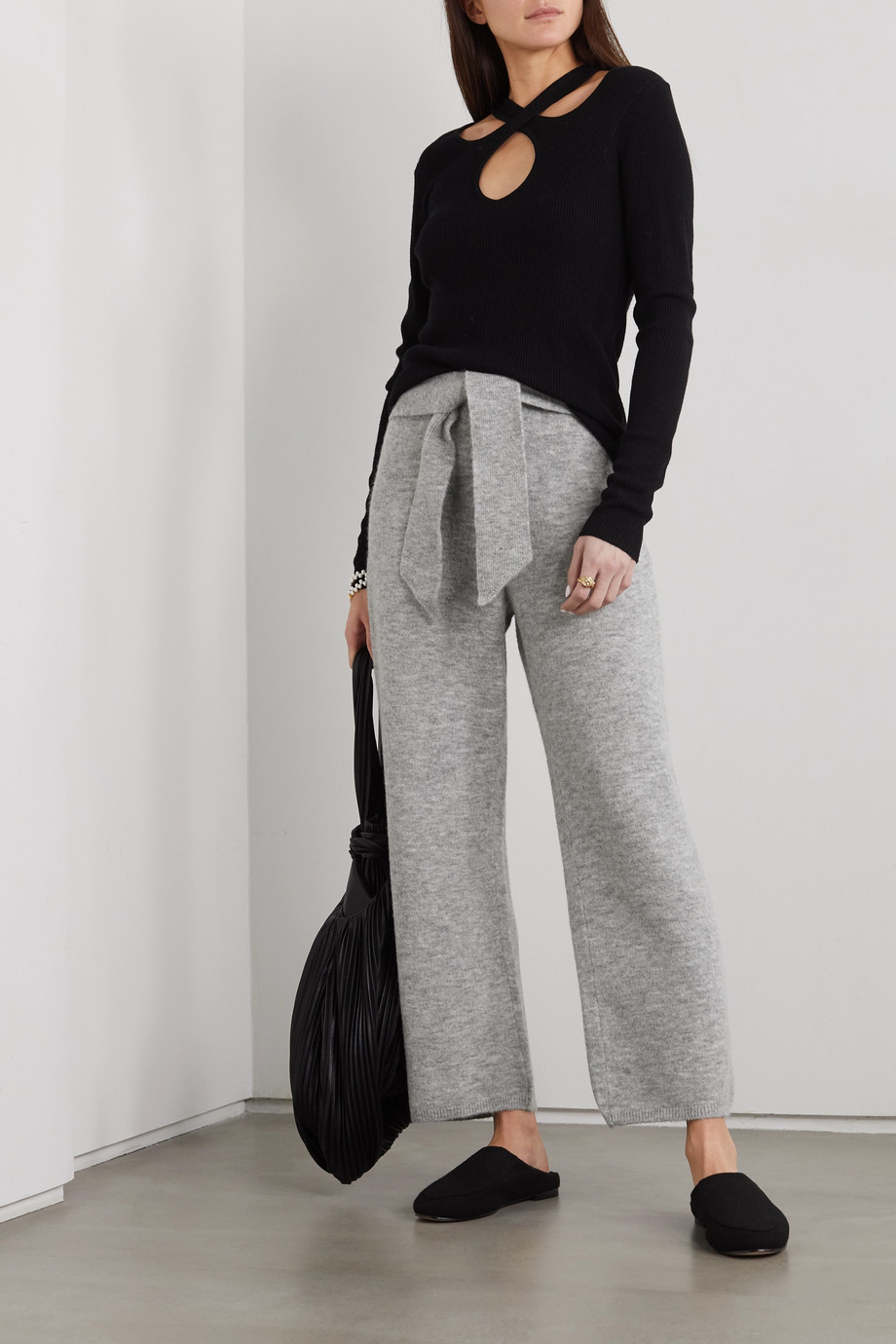 NANUSHKA Nea belted ribbed mélange knitted pants