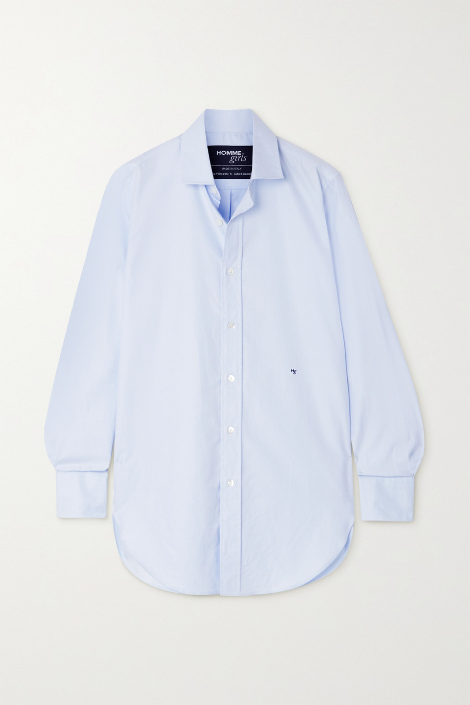 HOMMEGIRLS Embroidered cotton-poplin shirt