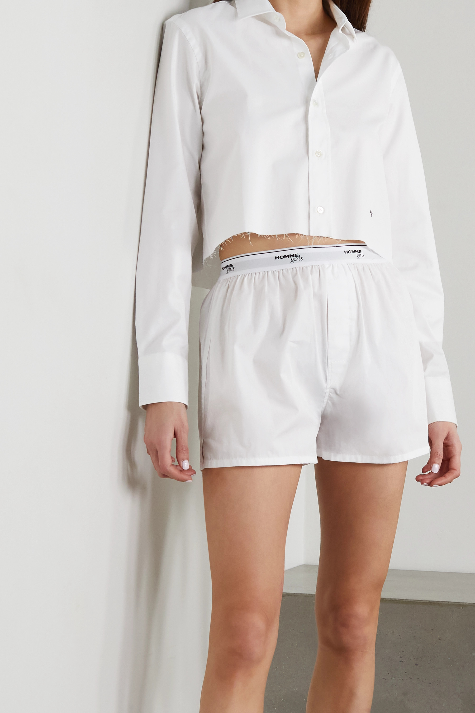 HOMMEGIRLS Cotton-poplin shorts