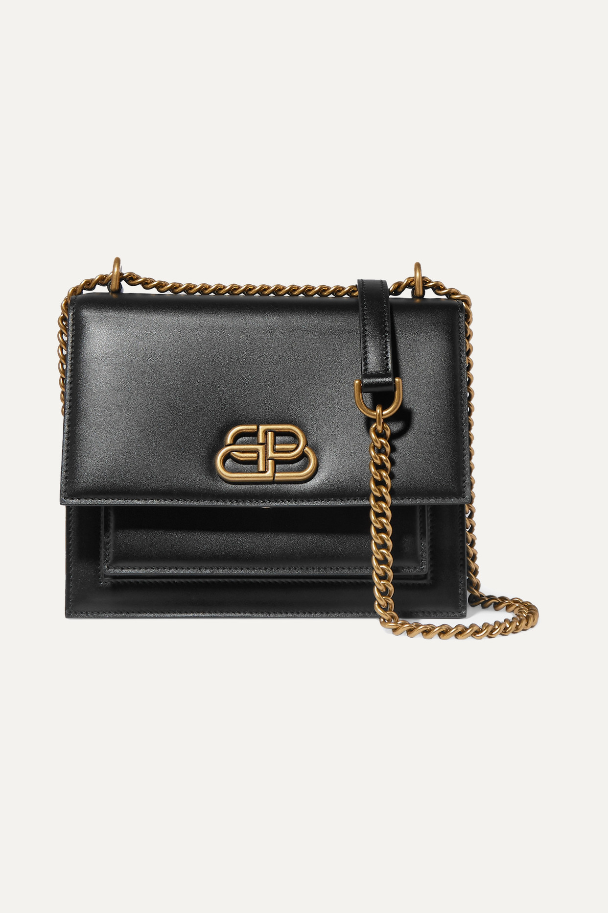 BALENCIAGA - Sharp S Leather Shoulder Bag - Black - one size
