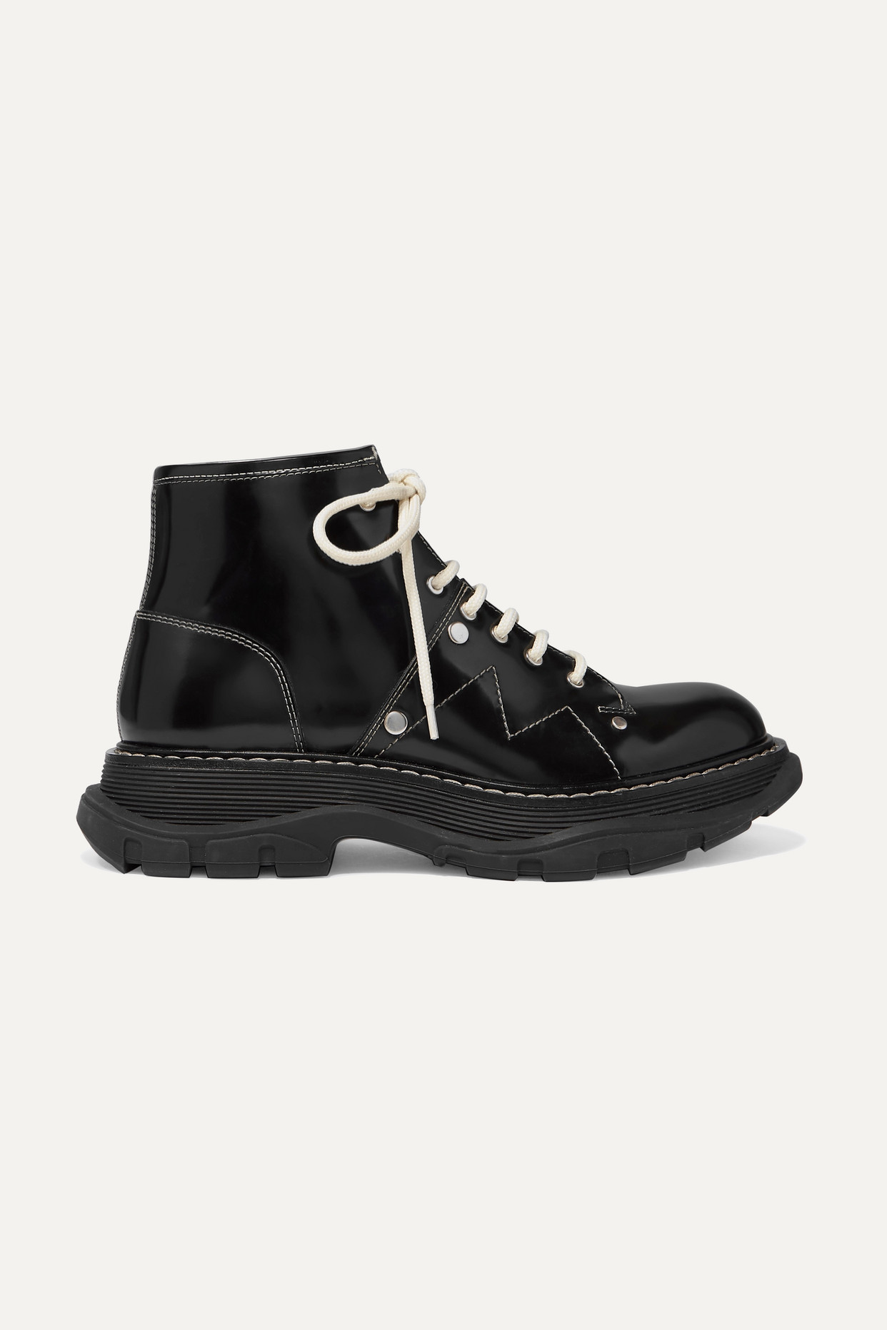 ALEXANDER MCQUEEN - 亮面皮革厚底踝靴 - 黑色 - IT41