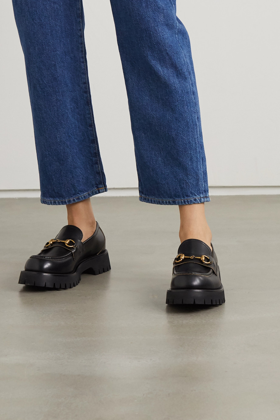 GUCCI Horsebit-detailed leather platform loafers