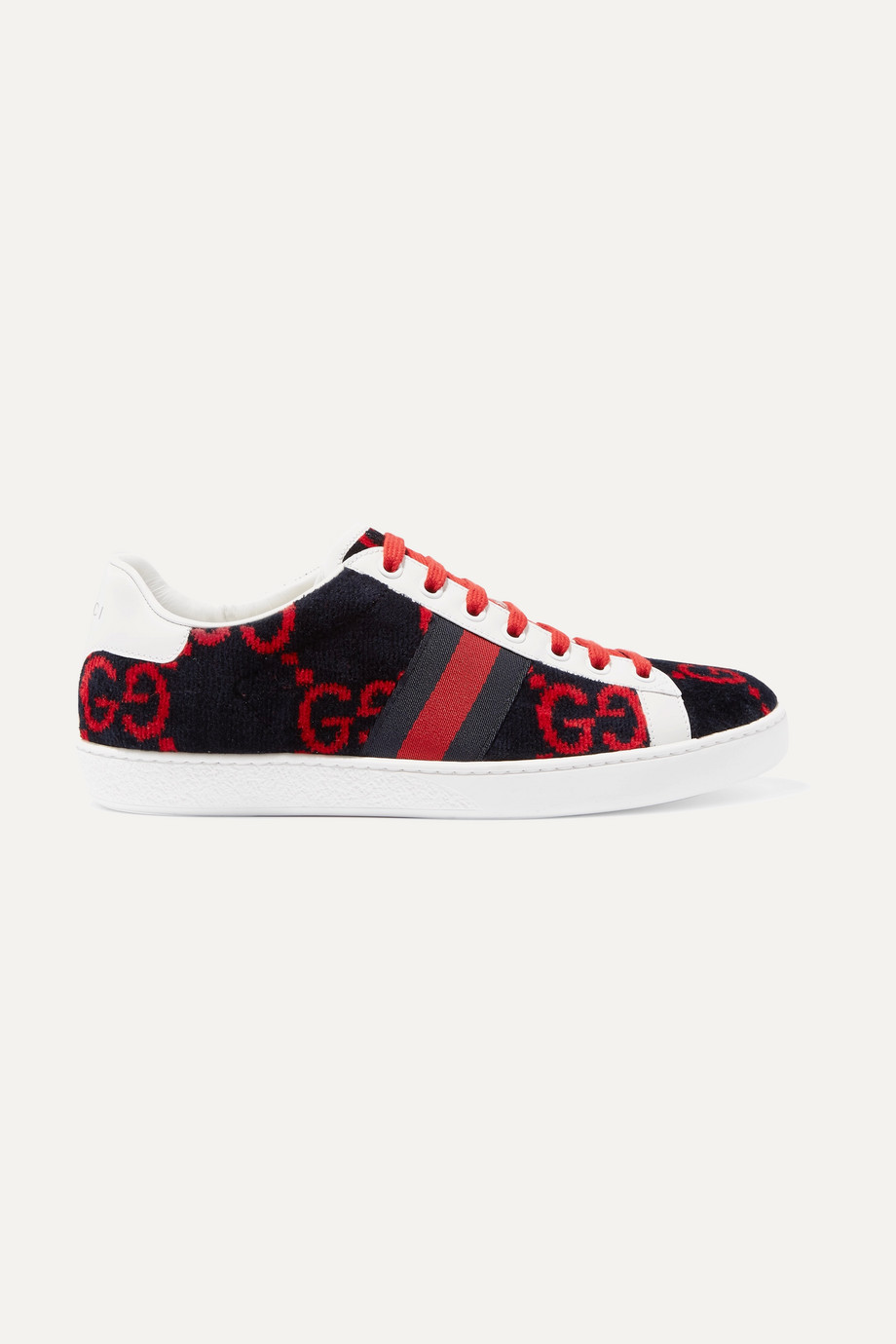GUCCI New Ace leather-trimmed logo-print velvet sneakers