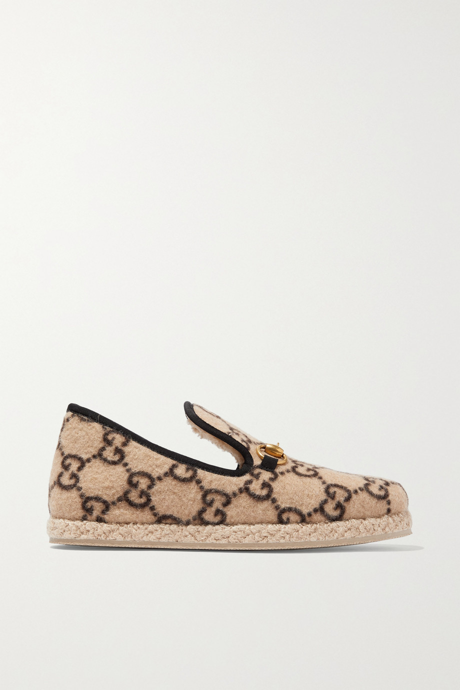 GUCCI Fria horsebit-detailed logo-print wool loafers