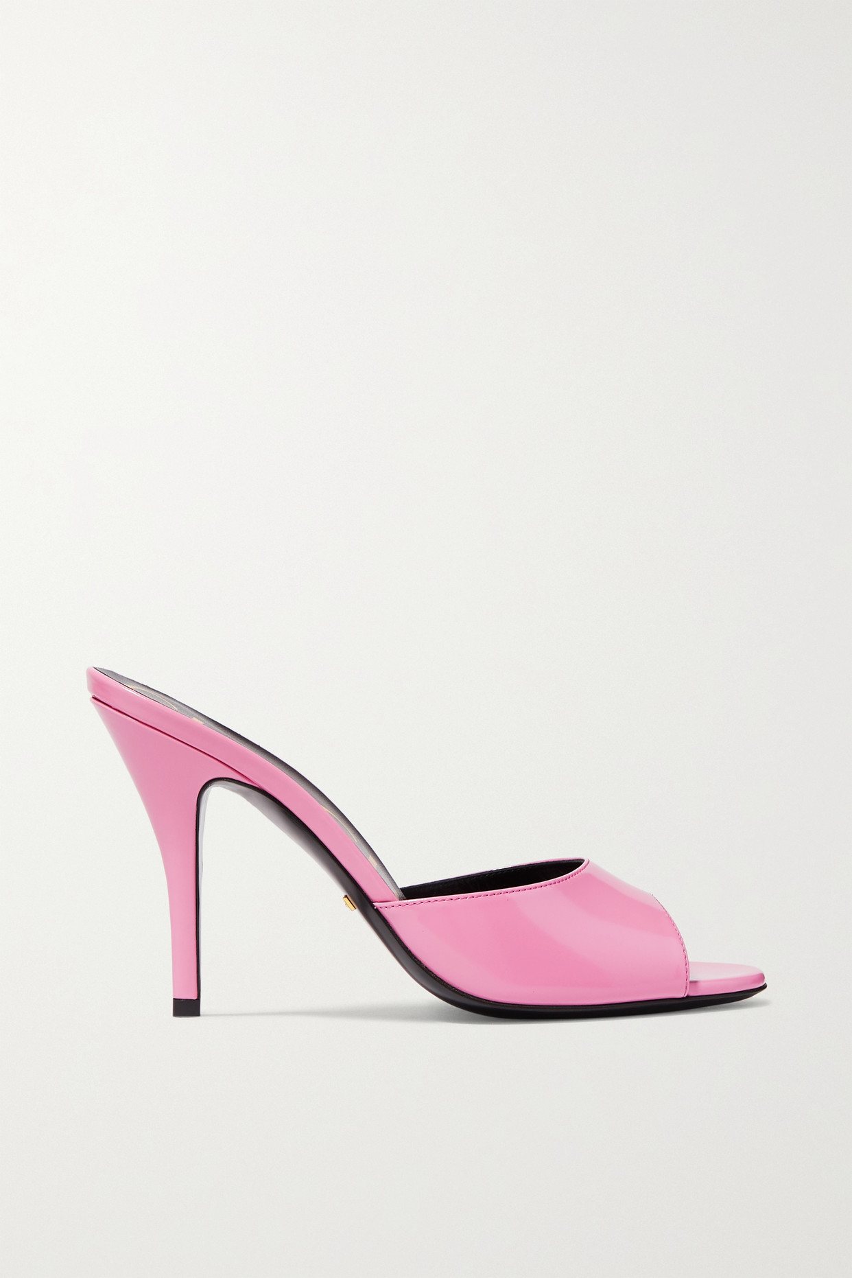 GUCCI - Scarlet Glossed-leather Mules - Pink - IT35