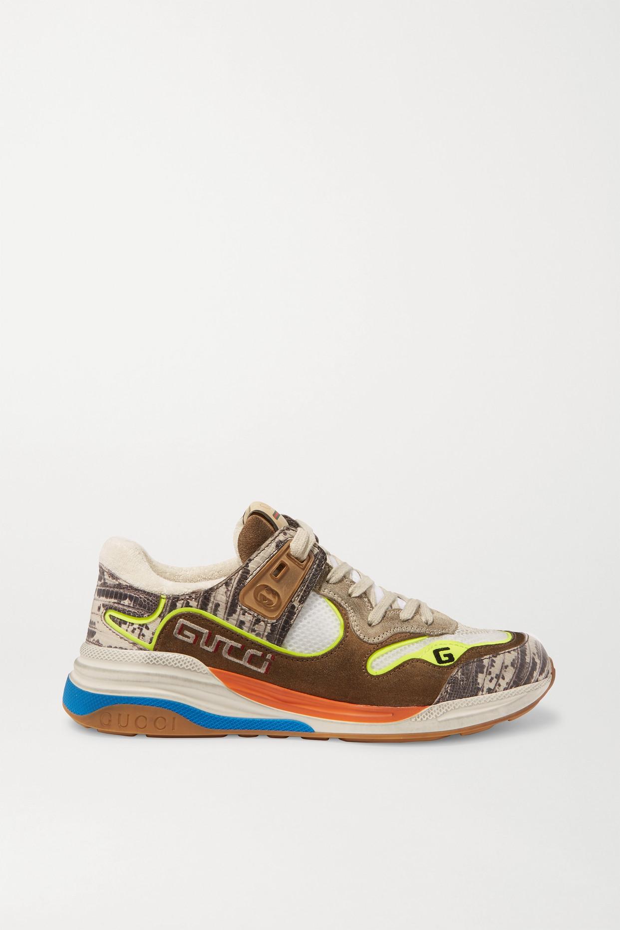 GUCCI - Ultrapace 仿蛇纹皮革网眼仿旧绒面革运动鞋 - 棕色 - IT40