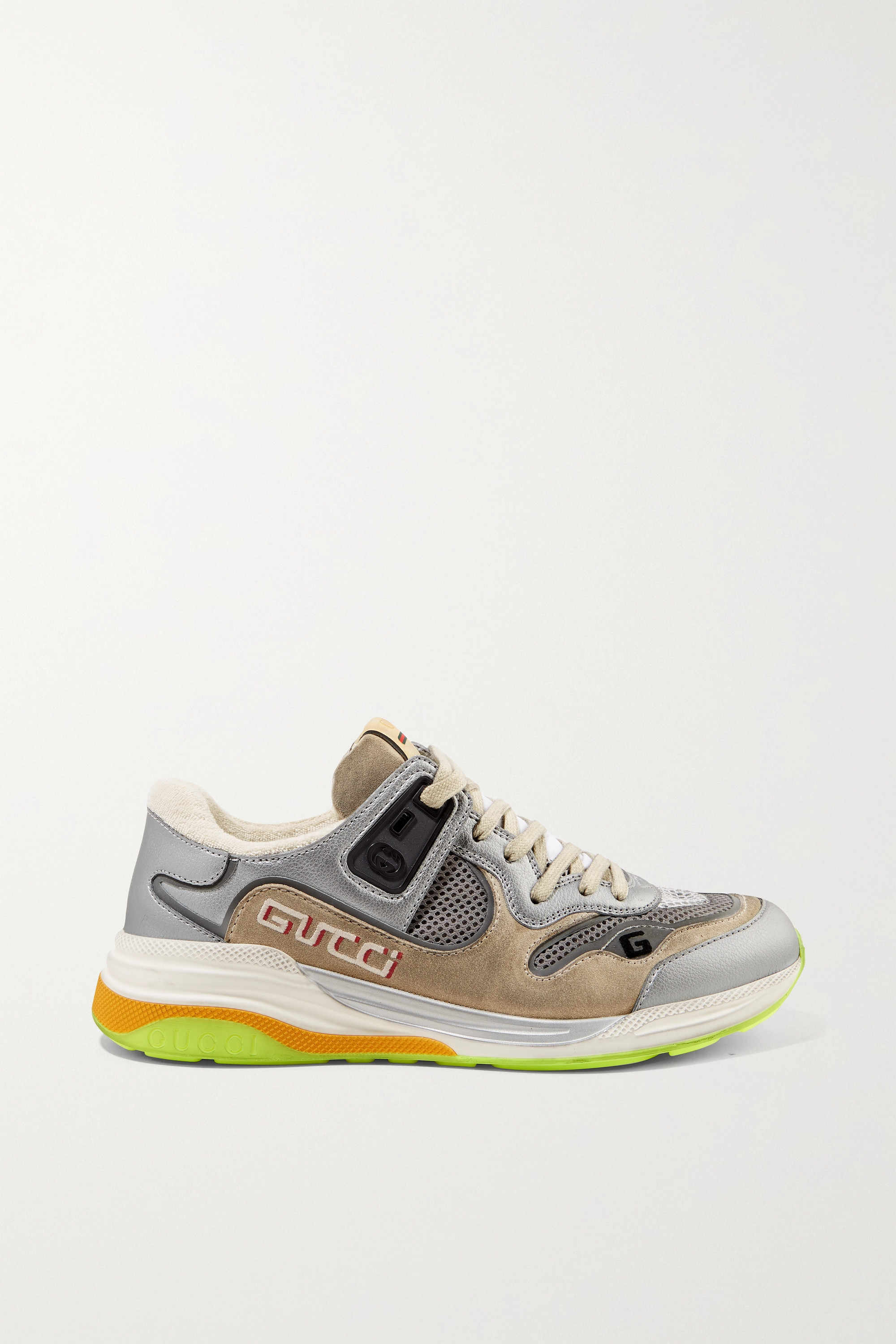 GUCCI Ultrapace metallic leather, mesh and distressed suede sneakers