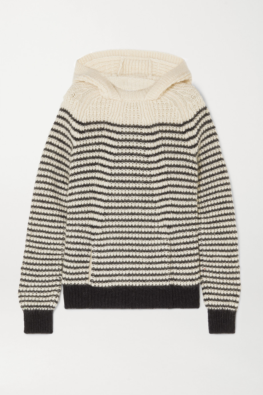SAINT LAURENT Striped knitted hoodie