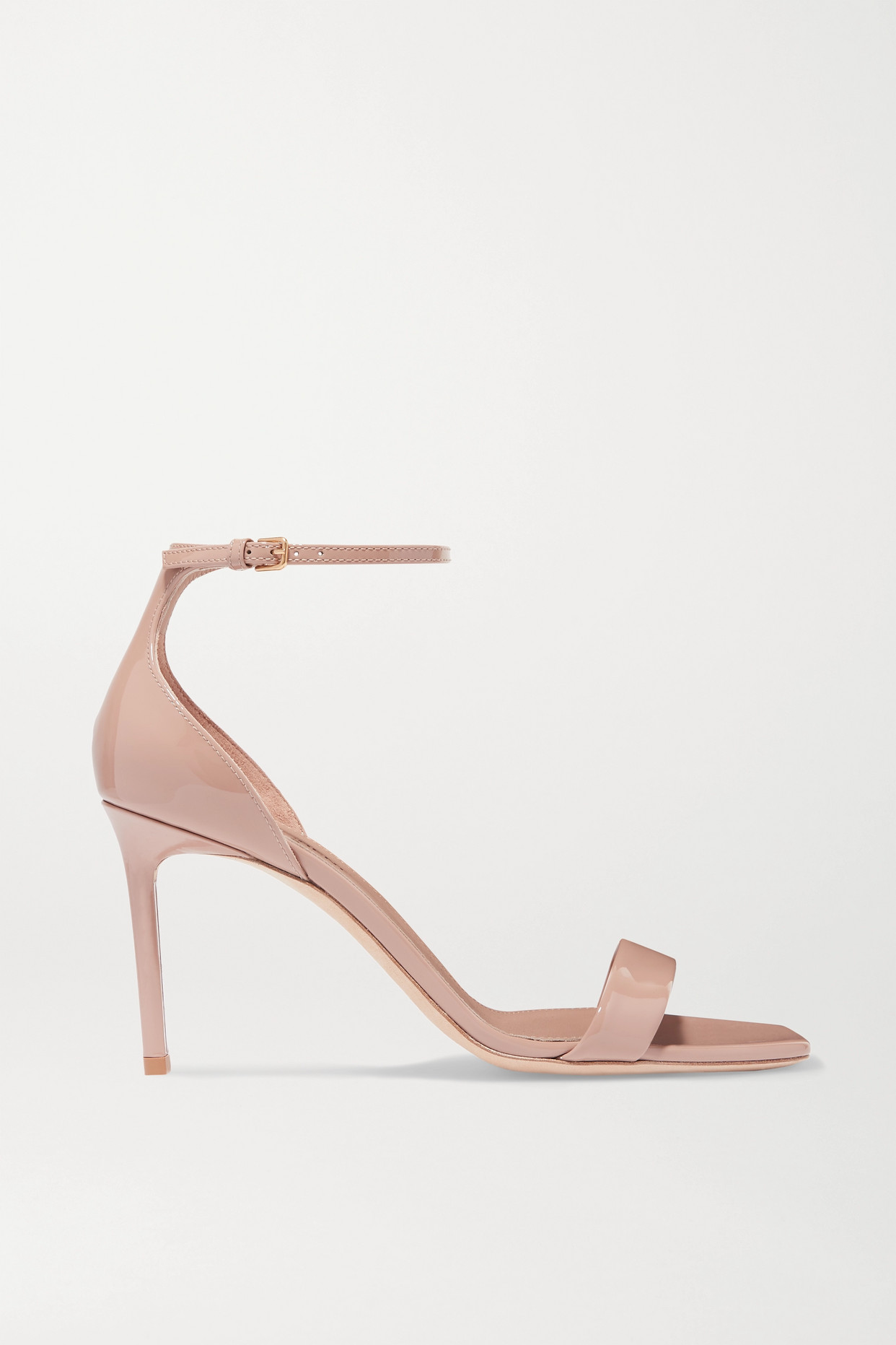 SAINT LAURENT - Amber Patent-leather Sandals - Neutrals - IT39